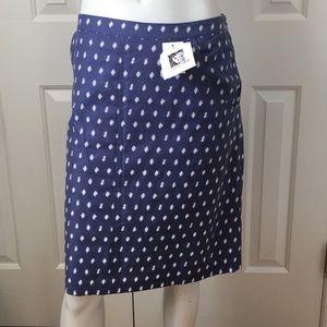 NEW ANNE KLEIN blue white career business skirt 16